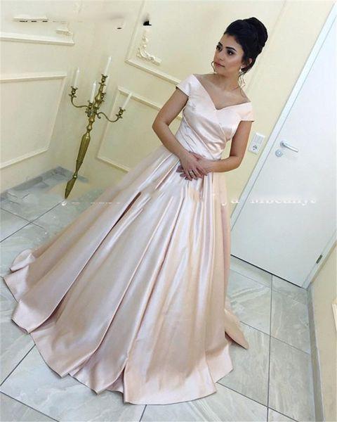 Sencillo cuello en V Satén Una línea fuera del hombro Vestidos de baile Vestido largo formal dulce 16 Venta barata vestido de 15 años