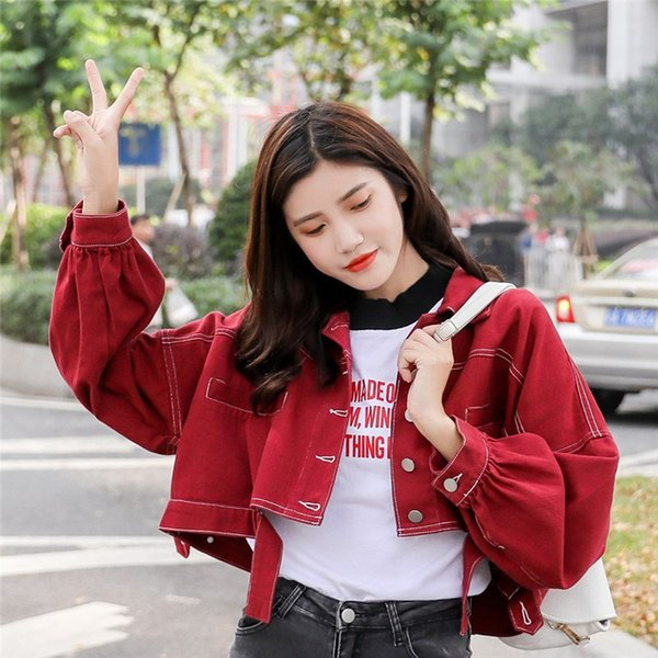 2019 Giacca di jeans corta primavera Donna Capispalla rosso bianco giallo Manica a pipistrello Abbigliamento femminile Giacche jeans crop