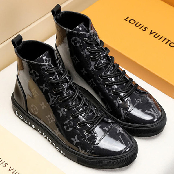 New 2019 Mens Boots Leather Casual Shoes High Top Rubber Sole Platform Leather Mens Work Boots Plus Size M#19 Hot Tattoo Sneaker Boot Sale