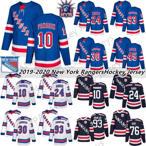 top popular 2019 New York Rangers 10 Artemi Panarin 24 Kaapo Kakko 30 Henrik Lundqvist 76 Brady Skjei 8 Jacob Trouba Hockey Jersey 2020