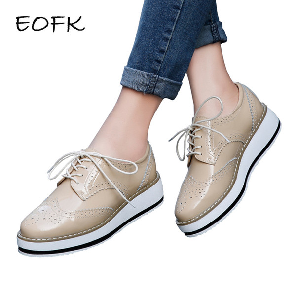Eofk Brand Spring Women Platform Shoes Woman Brogue Patent Leather Flats Lace Up Footwear Female Flat Oxford Shoes For Women Y190704