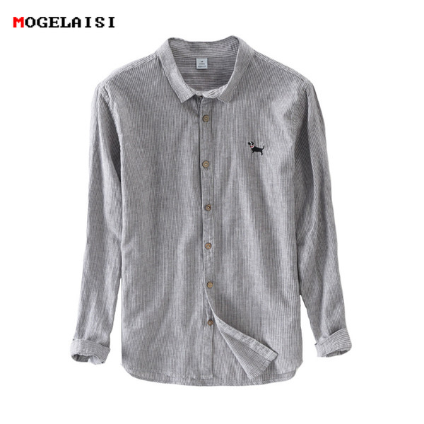 Brand linen Cotton Shirts Men Casual Striped Embroidery A Lovely Dog Full sleeve Flax Shirt For Men Clothing Asian size M-3XL