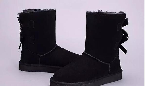 Designer Shoes Australian Style Bailey Bowtie Women Snow Boots Back Winter Leather Boots Brand luxury women shoes size 3-13