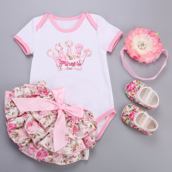Big Flower Headband Crown Floral Baby Girl Clothes Short Dress Shoes 4 PCS Set;Unicorn Newborn Baby Costume Ensemble Bebe Fille Y18120303