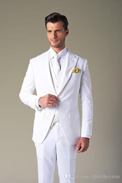 Alta Qualidade Barato Branco Puro Ternos Dos Homens Para O Casamento Slim Fit Groomsmen Smoking Três Peças One Button Wedding Suit (Jaqueta + Calça + Colete)