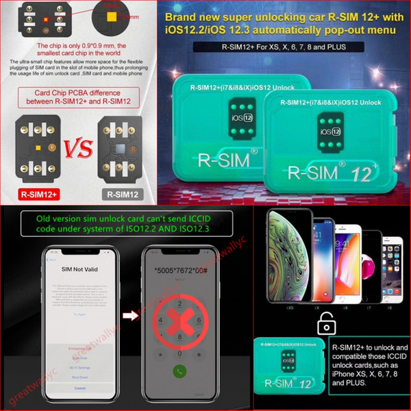 RSIM12+ Perfect Unlock For ISO 12.3 R-sim 12+ Original SIM Card ICCID Unlock For Iphone XS X 8 7 VS R-SIM 14
