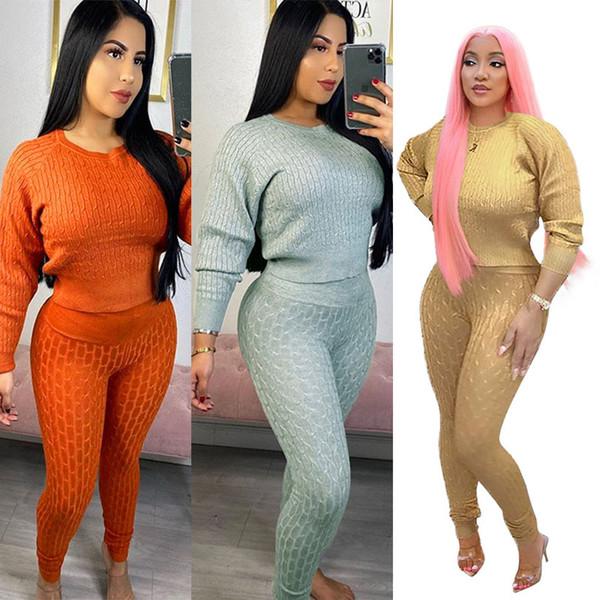 Women Two Pieces Long Sleeve Bodycon Autumn Crop Tops Leggings Pants Set