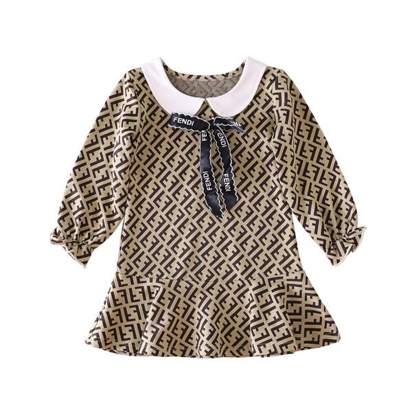 2019 Moda Bebés Meninas vestido de algodão Designer Marca Carta Long Sleeve Primavera Outono saia das crianças das crianças Roupa infantil Brasão Bow vestido bonito