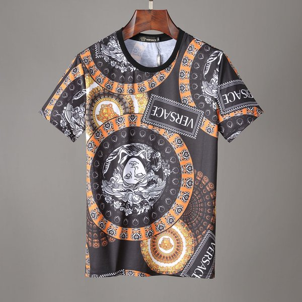 # 2528 Летний мужчина Футболка Мода Роскошные футболки Классический напечатанная письмом с коротким рукавом Мужская хлопок отдыха Hip Hop Оптовая Tops Tee