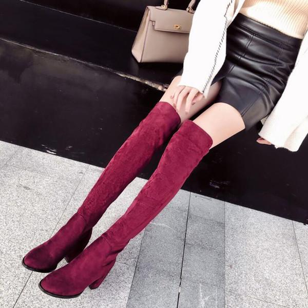 calzino rosso stivali tacco Autunno Inverno signore lungo Stivali Alti Donna sexy Slim Fit Suede sopra il ginocchio scarpe stivali da donna mujer YMA967