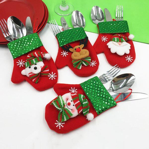 Christmas Decoration Cutlery Gloves Shape Christmas knife and fork cover 9*16cm Candy Bags santa claus snowman Doll Gloves B112