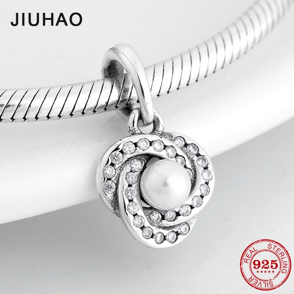 Fashion 925 Sterling Silver Women Charms Milky white pearl Pendants Fit Original Pandora Bracelet Necklace DIY Jewelry making