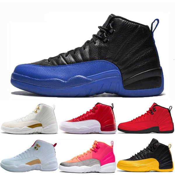 12 Game Royal men basketball shoes 12s Mens New University Gold Blue Hot Punch o-black FIBA playoffs Trainers Sport Sneakers size EUR 40-47