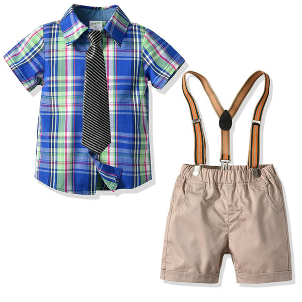 Summer new Boys Trajes Fashion Boys Conjuntos de ropa camisas de corbata + liguero pantalones Kids Sets niños ropa de diseño para niños trajes A5356