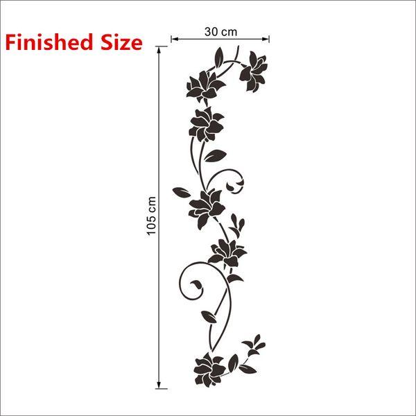 Fleur noire Vigne Stickers Muraux Réfrigérateur Armoire de Fenêtre Décorations pour La Maison Diy Home Stickers Art Mural Affiches Décor À La Maison