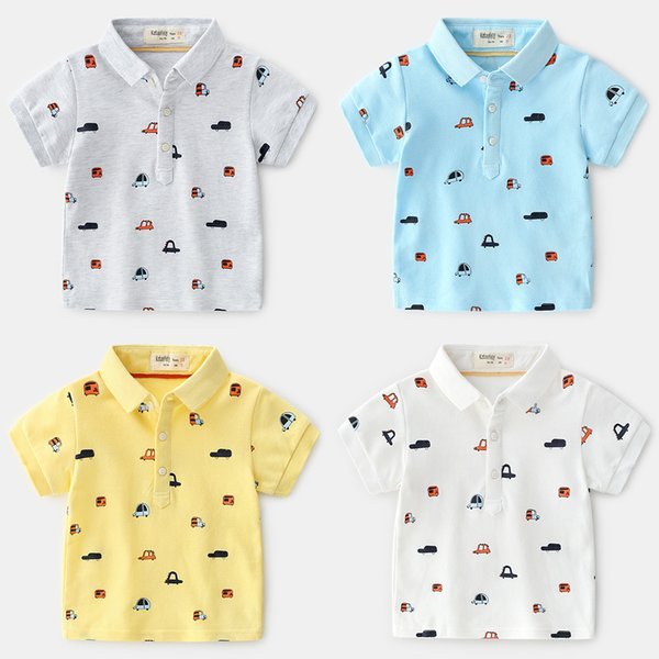New summer Korean version of the boutique children's clothing boy children's printing cartoon car cotton short-sleeved T-shirt wholesale