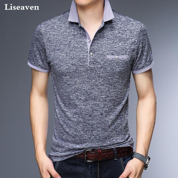 f5e4bc462ad Liseaven Hombres Polos Oficina de Negocios Polo Camisa de Marca Para Hombre  Camisas de Polo Hombres