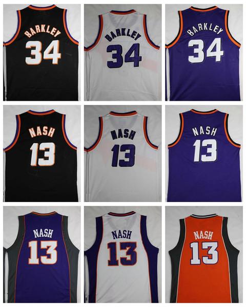 Top Quality #34 Charles Barkley Jersey #13 Steve Nash Jerseys Retro Mens Stitched Purple Black White Shirts Free Shipping