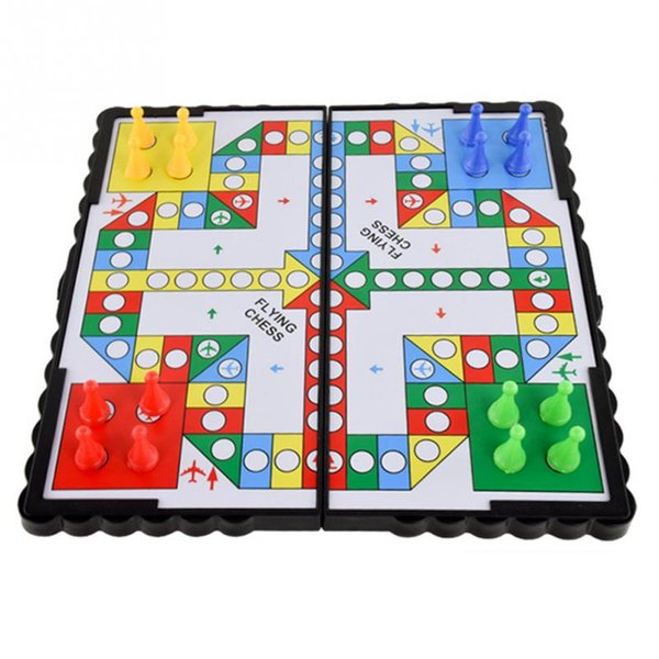 2019 new New Mini Portable Foldable Travel Magnetic Pegs Board Game Classic Kids Plastic Flying Chess Crawling Mat Flight Game