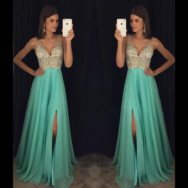 Robes de Bal Black Girl Prom Dresses Long Cheap Deep V Neck Split Chiffon Formal Evening Gowns Plus Size Crystal Bead Party Dress