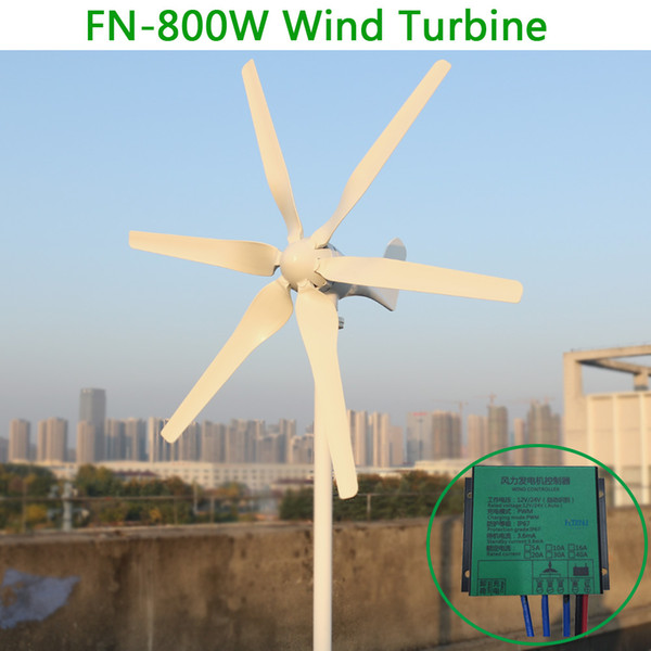 New 3 phase AC 12v 24v 800w Horizontal wind turbine generator with 6 blades and free 12v 24v AUTO controller for home use