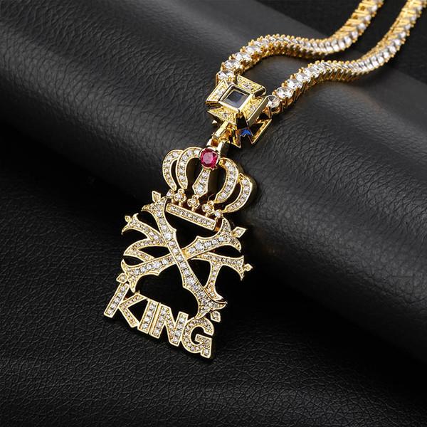 New Ice Cream CZ Pedra Crown Carta Rei Pingente e Colar Micro Pavimentada Cor de Ouro Bling Charme Chains Hip Hop Jóias