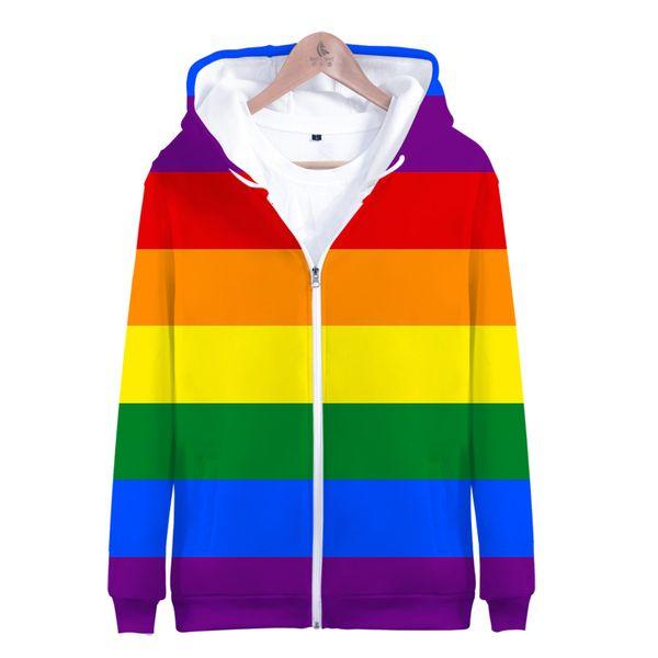 Fashion Pride LGBT Clothes Gay Rainbow Design Zipper hoodies sweatshirt High Quality Hooded Streetwear Men/Women Jacket jacket