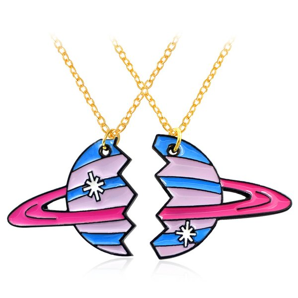 2PCs/set Universe Planet Pendants Necklace Kids Best friend BFF Necklace for Children Friendship Jewellery
