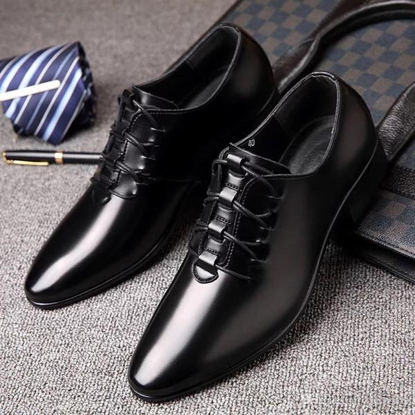 2019 Yeni Bahar Düğün Ayakkabı erkek Iş Eğlence profesyonel moda ayakkabı Keskin Kore versiyonu siyah pürüzsüz