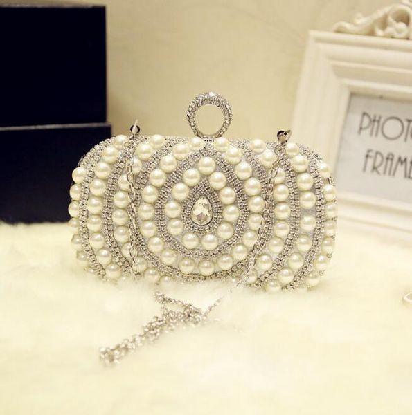 Factory sales of high-quality handmade pearl hand bag luxurious diamond chain woman Yanbao exclusive custom diamond Dinner Bag