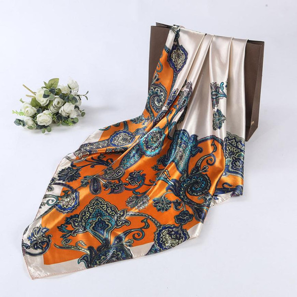 SD-42 90 * 90 cm Llanura Impreso Monocromo Arcilla Señoras Pañuelo Señora Chica Impreso Bufanda Bufanda Bandana Satén Chal Moda
