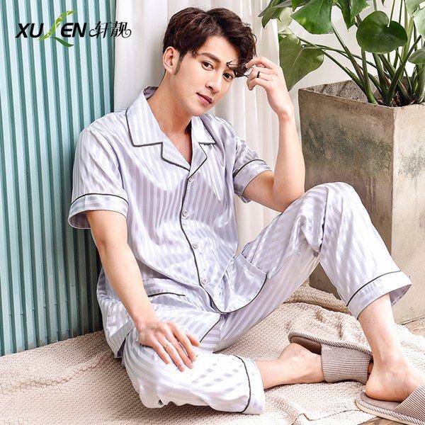Мужская атласная шелковая пижама плюс размер пижамы, комплект благородного сна и отдыха с короткими рукавами ночных рубашек и брюк летнего дома для сна