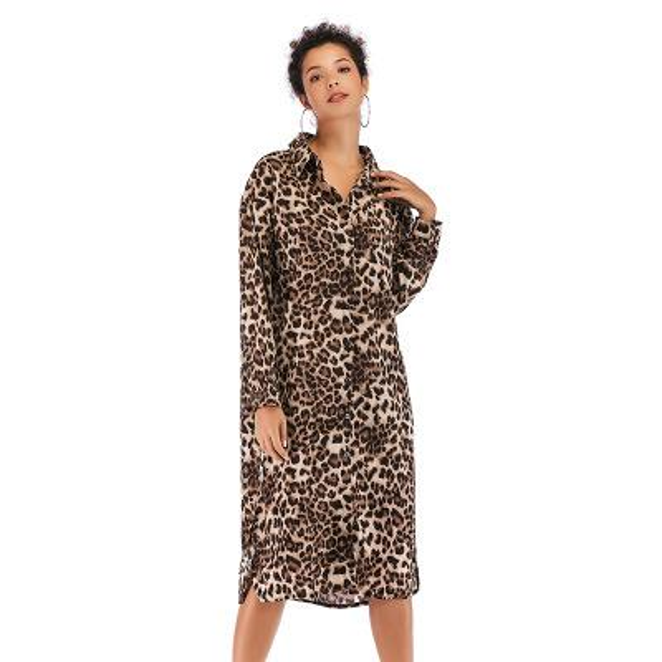 Womens Leopard Dresses 2019 New Arrival Women Printed Split Shirt Skirt Fashion Brief Casual Ladies Dresses Size M-XL 2styles
