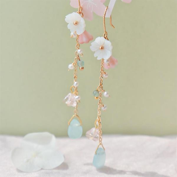 spring flower vines national wind girl heart ins earrings macarons sensen face thin super fairy ear clip