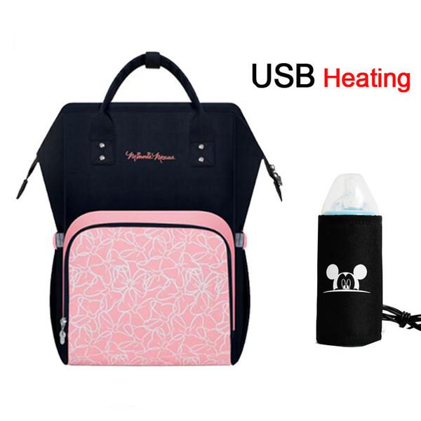 Bolsa de pañales de calefacción USB Mochila de pañales de maternidad Mochila de viaje de enfermería de gran capacidad Preservación del calor
