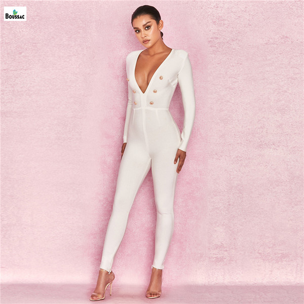 BOUSSAC Women Rayon Bandage Jumpsuit White Color with Golden Button Full Length Skinny Style Romper One Piece Suit Sexy Jumpsuit