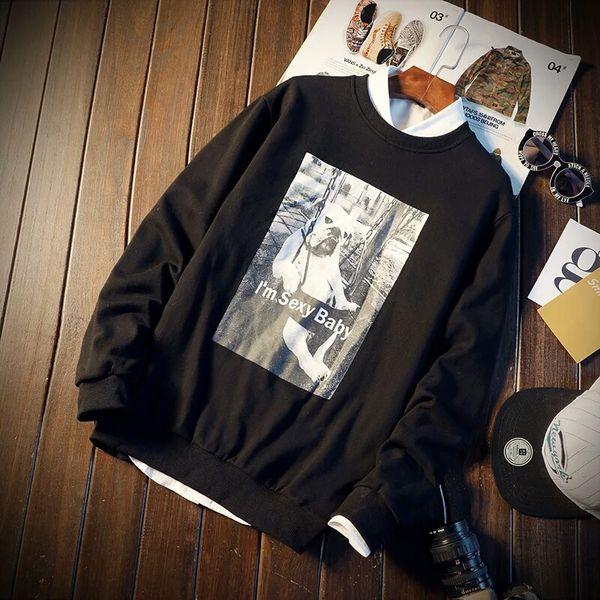 Homem han edição em roupas durante a primavera e outono outono manga longa T-shirt com lã longa lã tornar sem forro