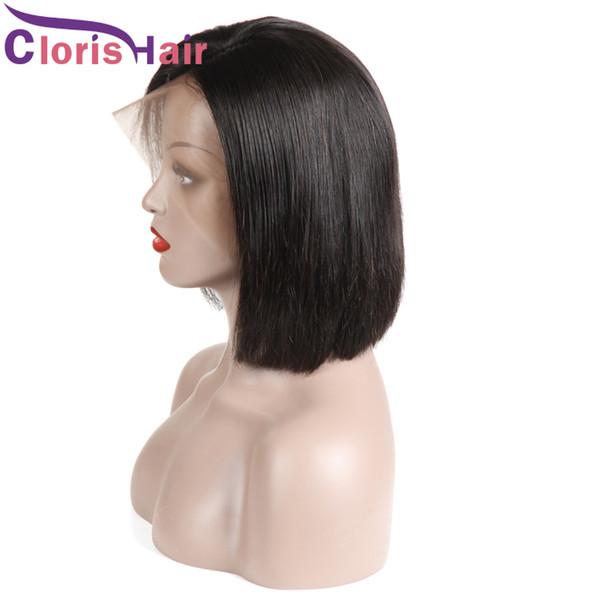 Kısa Pixie Dantel Ön Peruk Brezilyalı Düz Tam Dantel İnsan Saç Bob Peruk Siyah Kadınlar Için Ön koparıp Doğal Saç Çizgisi Ucuz Bob Peruk