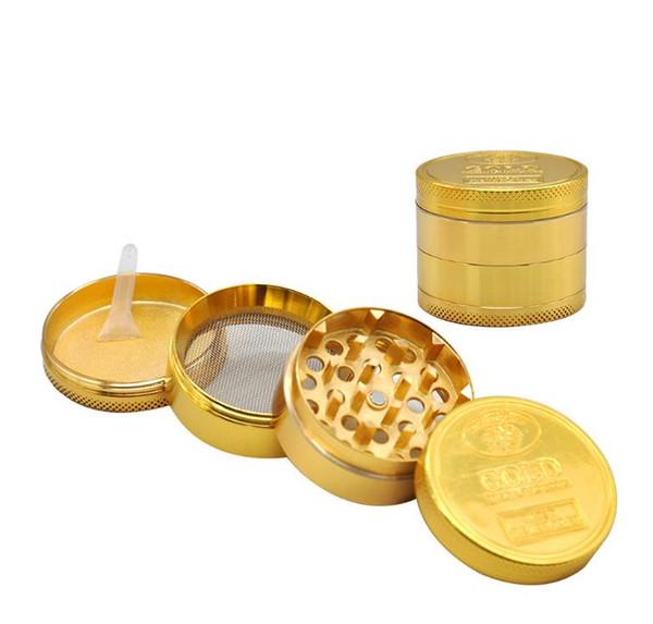 Golden Coin Zinc Alloy Smoke Grinder 4-Layer Metal Smoke Grinder 50 mm in Diameter
