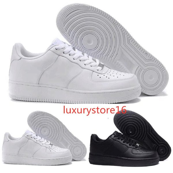 Nuevo Diseñador Forces Hombres Mujeres Low Cut One 1 Zapatos Todos Blanco Negro Forced 1s Zapatos Classic AF Fly Trainers High Knit Sneaker