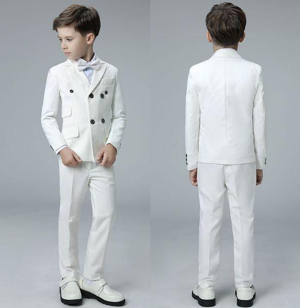Nach Maß Königsblau Langarm Jungen Prom Smoking Anzüge Zweireiher Männliche Kinder Formale Brautkleider (jacke + pants + fliege)