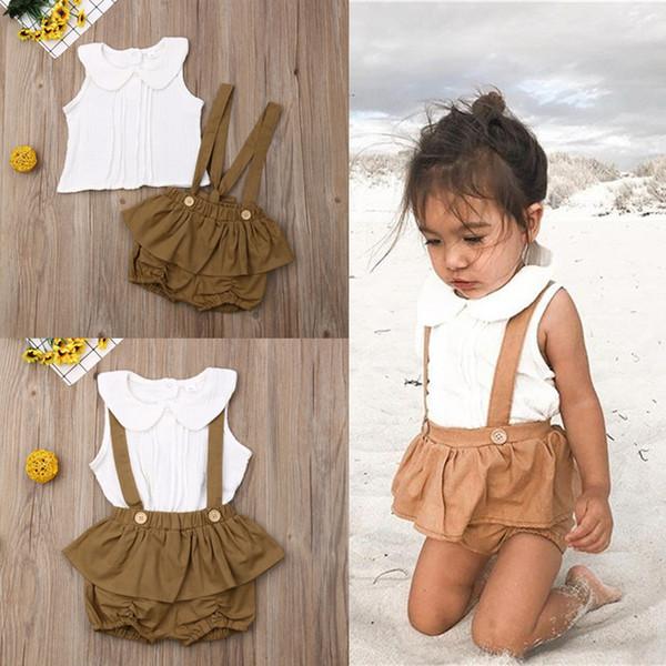 Летняя девочка детская одежда комплект кукла воротник без рукавов белый топ + ремешок шорты 2 шт. Наборы детская дизайнерская одежда для девочек EJY496