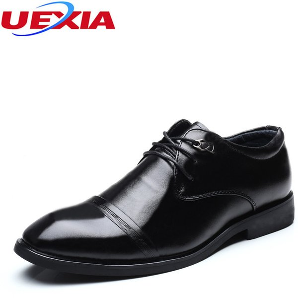 UEXIA Leather Shoes Men Pointed toe Flats Fashion Wedding Formal Shoes Male British style Business Dress Oxfords zapatos hombre