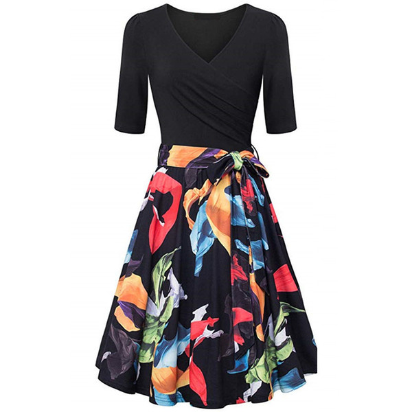 Brand New Spring Summer Dress Women Vintage Floral Print Patchwork Dress V Neck Half Sleeve Slim A Line Dresses Vestidos Belt