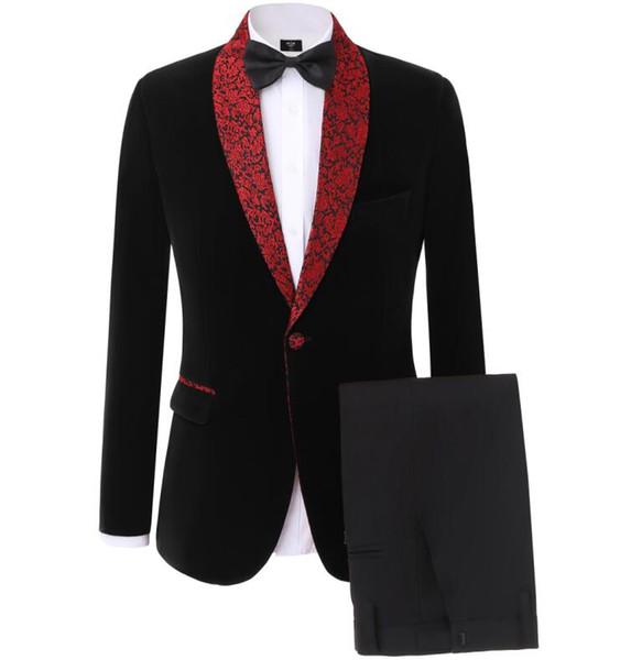 Fashion Velveteen Groom Tuxedos Shawl Lapel Groomsmen Mens Wedding Dress Man Jacket Blazer Prom Dinner 2 Piece Suit(Jacket+Pants+Tie) A62