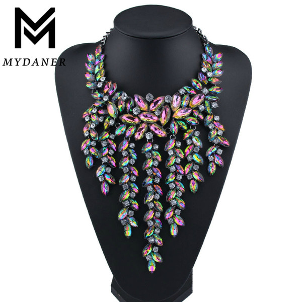 Declaración de múltiples capas de lujo Maxi Collar Grande Magnífico Cristal Colgante Gargantilla Collar Mujeres Collares Largos Joyería de moda