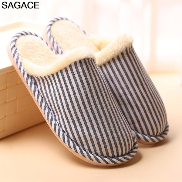 SAGACE Couples Men Striped Slippers for Home Classics Flats Flock Warm Non-slip Floor Home Slippers Indoor Shoes chaussures 0807