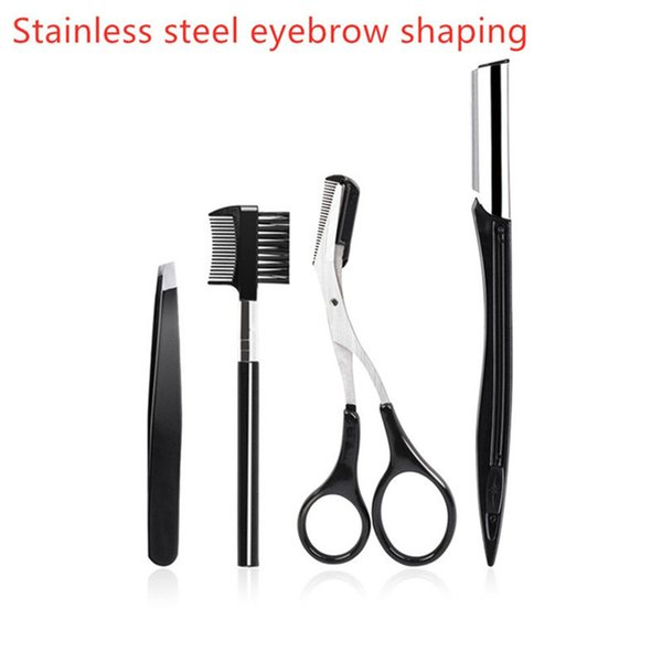 best selling Free shipping !Stainless Steel Eyebrow Scissor 4pcs set 3d Mink Eyelash Tweezers Eyelashes Curler Set Hair Trimming Makeup Scissor