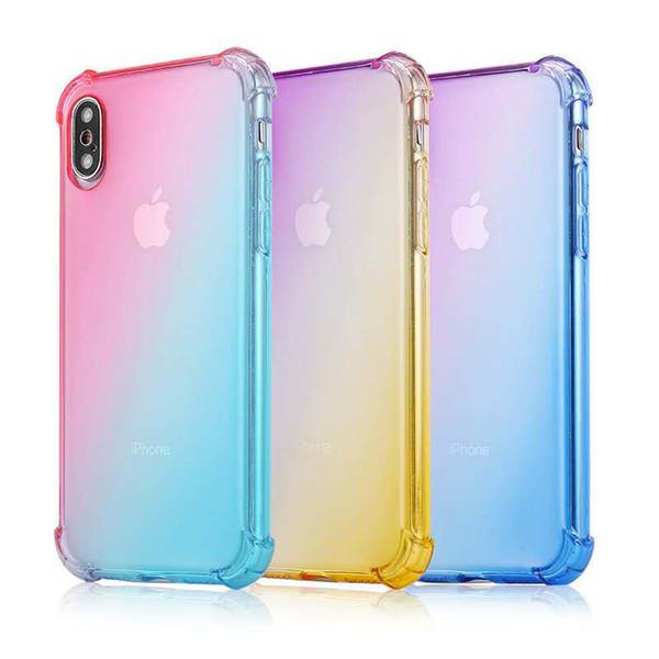 Casi di telefono arcobaleno colori sfumati anti antiurto airbag tpu trasparenti coperture trasparenti cover posteriore a quattro angoli per iPhone XS MAX 8