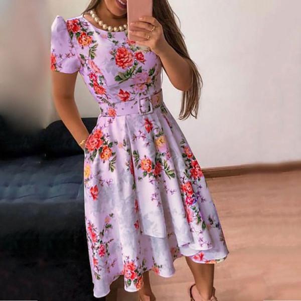 2019 Estilo de verano Estampado floral Verano Feminino Vestido O-cuello Casual Tallas grandes fiesta Vestido de damas Vestido de fiesta Vestidos de fiesta